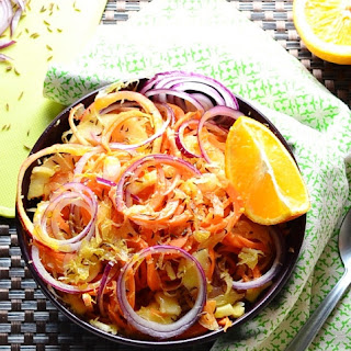 Sauerkraut Salad with Spiralized Carrot and Apple.