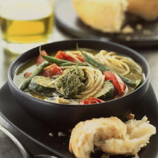 Pesto and Spaghetti Soup with Vegetables.