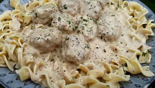 """Cassie's Comforting Meatball Stroganoff """"I took one of my meatball recipes and..."""