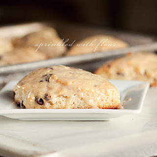 Chocolate Chunk Scones with Peanut Butter Glaze