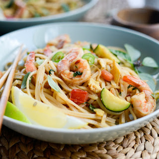 Drunken Noodles with Shrimp and Zucchini.