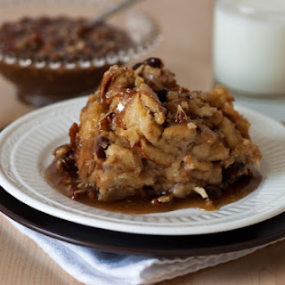 Cinnamon Raisin Bread Pudding with a Caramel Pecan Sauce