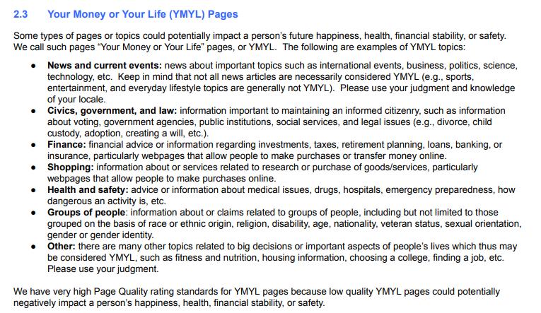 изменения в разделе YMYL в инструкциях Google