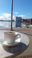 Photo: A lovely cup of espresso macchiato with a view.