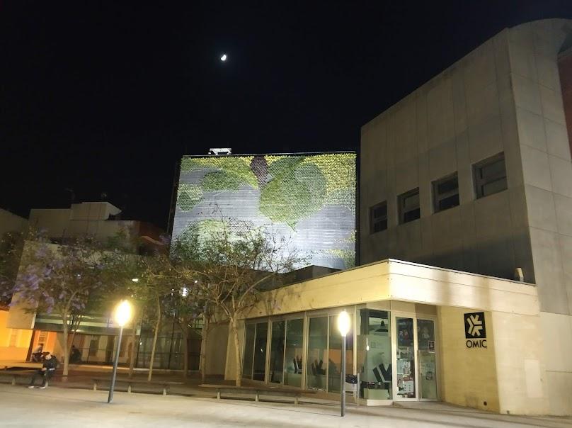Resultado final del jardín vertical de San Vicente del Raspeig por la noche.