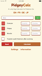 PidgeyCalc for Pokemon Go Screenshot