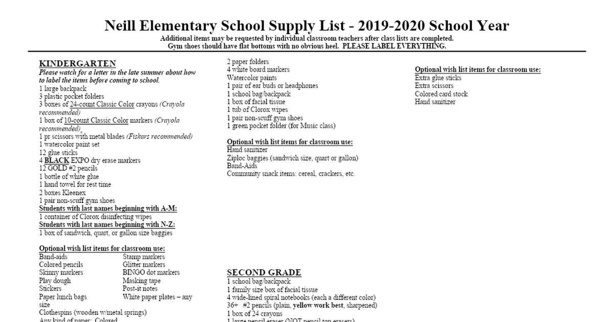 Best Metal Bands 2020 Neill Elementary School Supply List 2019 2020.doc   Google Drive