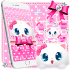 Cute Fluffy Kitten Pink Bow Theme icon