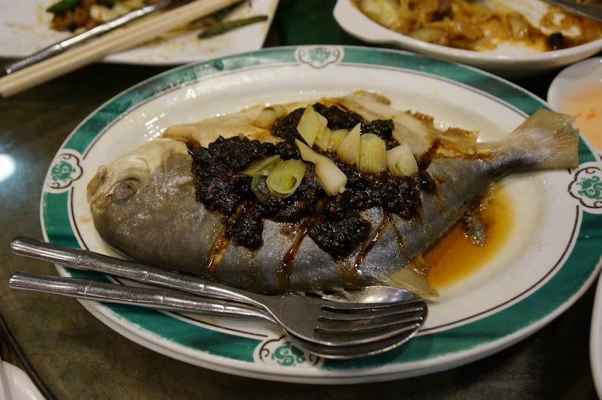 Steamed flounder in black bean sauce