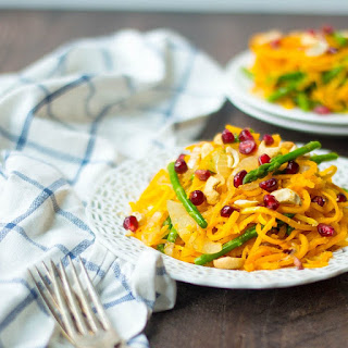Spiralized Butternut Squash Noodles with Asparagus.