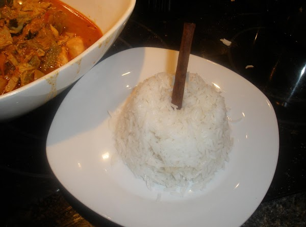Basmati Rice 1cup of Basmati rice. 1 3/4 cups of water, 1/2 stick of cinnamon,3...