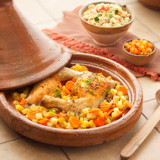 Moroccan Chicken Tagine with Potatoes and Carrots.