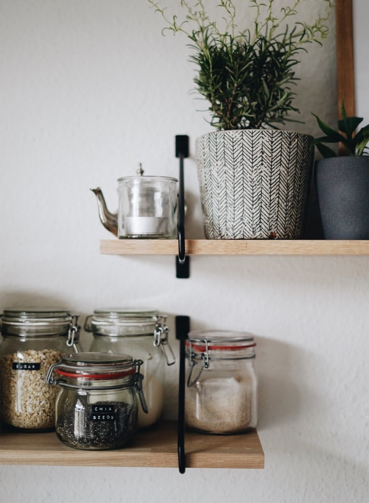 Succulents stacked alongside jars on the open shelf rack in the kitchen representing how you can integrate natural elements in your kitchen