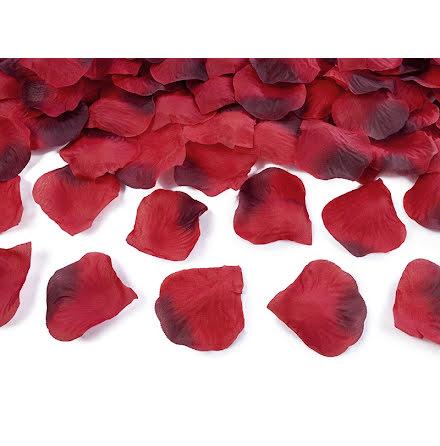 Rosenblad silke - Röd, tvåfärgad