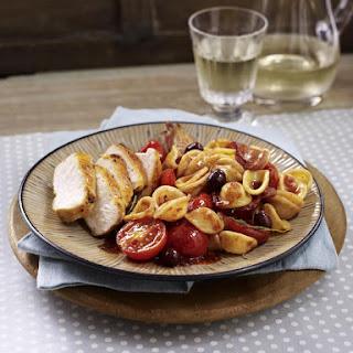Sautéed Chicken with Cherry Tomato Pasta.