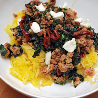 Spaghetti Squash with Sausage, Kale, and Sun-Dried Tomatoes Recipe