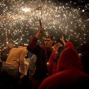 Correfoc Barcelona by Torsten Funke - City,  Street & Park  Street Scenes ( spain, street scene, correfoc, night, catalunya, traveling, lamerce, firework, street, barcelona, la merce, travel, street photography, night photography )