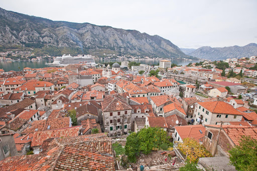 Kotor-cityscape.jpg - The cityscape of Old Kotor, Montenegro, with its Mediterranean-style orange-tiled houses.