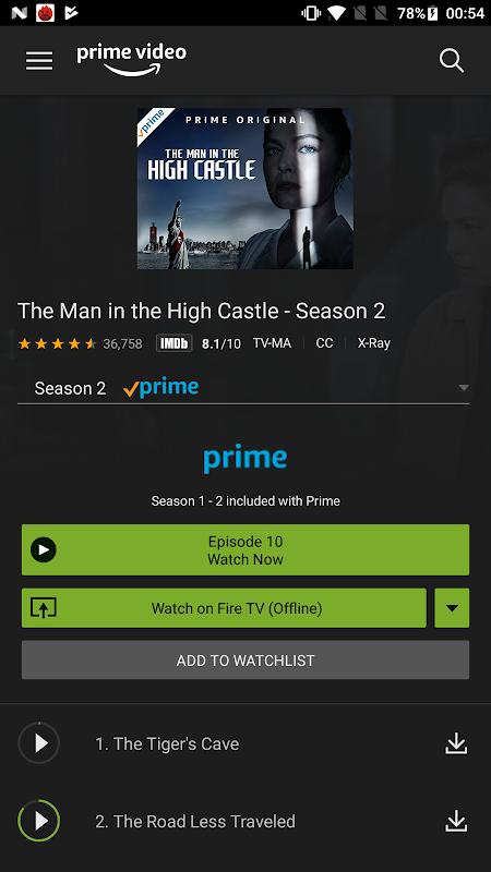 Amazon Prime Video screenshots
