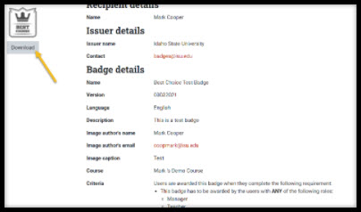 Screenshot of badge information screen