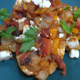Chicken With Tomatoes, Peppers, and Feta.