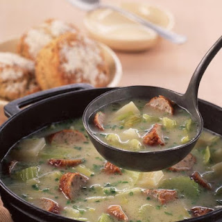 Chunky Sausage, Leek and Potato Soup.