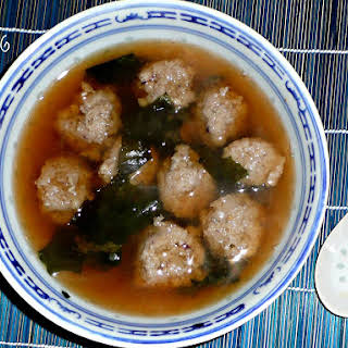 Miso Soup With Squid Dumplings.