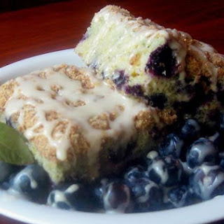 Blueberry Streusel Cake With Lemon Icing.
