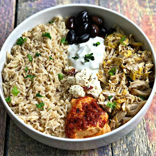 Instant Pot Mediterranean Greek Shredded Chicken and Brown Rice Bowl.