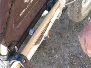 Photo: Day 167 - Trying to Splint the Original Repair With Wood To Keep Trailer Front Up off Ground