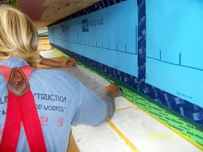 """Photo: Preparing to attach the Solitex Mento+ under the BIG S. windows, run it across the 16"""" EPS foundation foam & then up the outside of the TJI's."""