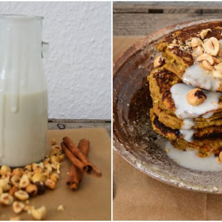 Pumpkin Pancakes with Coconut Cream Sauce & Roasted Hazelnuts