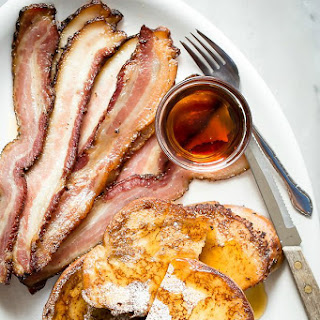 Easy French Toast with Steak Cut Bacon.