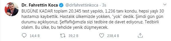 Türkiye'de koronavirüsten ölenlerin sayısı 30'a, vaka sayısı ise 1236'ya yükseldi