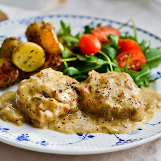 Pork Fillet Medallions with Cracked Pepper Sauce.