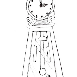Ding Dong by Melissa Toothman - Drawing All Drawing ( play, swat, string, cat, pounce, clock, grandfather clock, kitty )