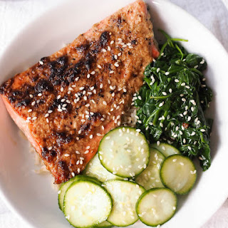 Miso Roasted Salmon Bowl with Quick Pickles and Sesame Spinach Recipe