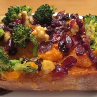 Baked Stuffed Sweet Potatoes With Broccoli, Cranberries And Walnuts