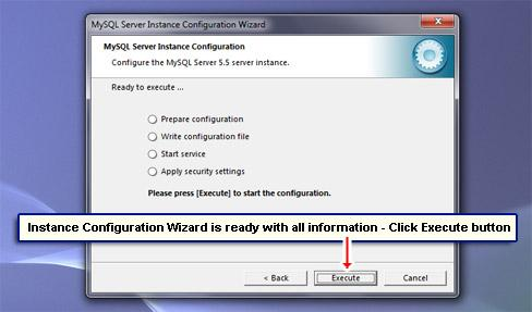 Instance Configuration Wizard is ready with all information - Click Execute button.