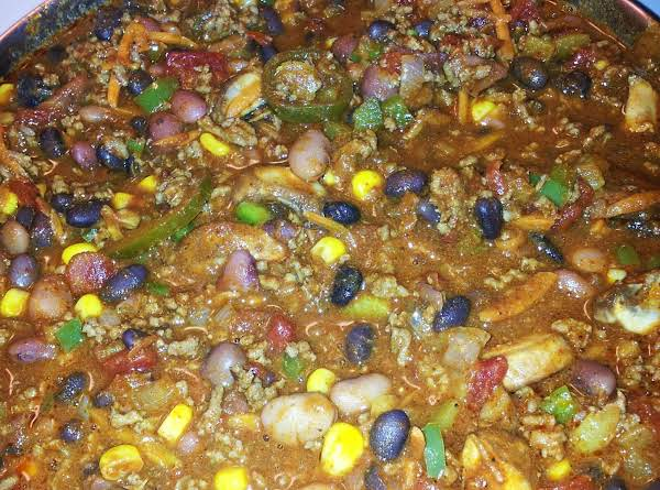 Everything But The Kitchen Sink Chili Recipe | Just A Pinch Recipes