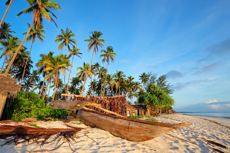 A dhow and palm trees on a tropical beach of Zanzibar island
