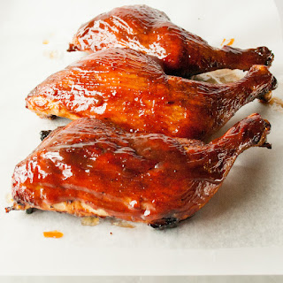 Easy Oven Barbecue Chicken with Honey Bourbon Chipotle Sauce.