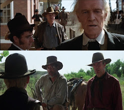 """Photo: O quatro atores veteranos que são a força do filme """"Os Imperdoáveis"""": Gene Hackman e Richard Harris (em cima) e Morgan Freeman e Clint Eastwood (em baixo)."""