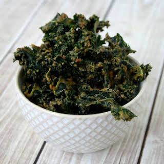 "Kale Chips with Spicy Peanut Sauce (""Almost"" Raw, Vegan, Gluten-Free, Dairy-Free, No Refined Sugar)."