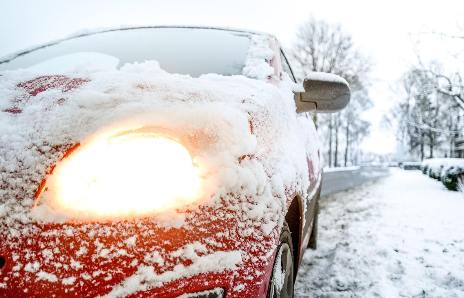snowy windshield