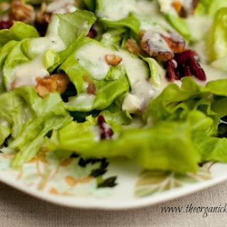 Butter Leaf Lettuce with Creamy Pear and Gorgonzola Vinaigrette.