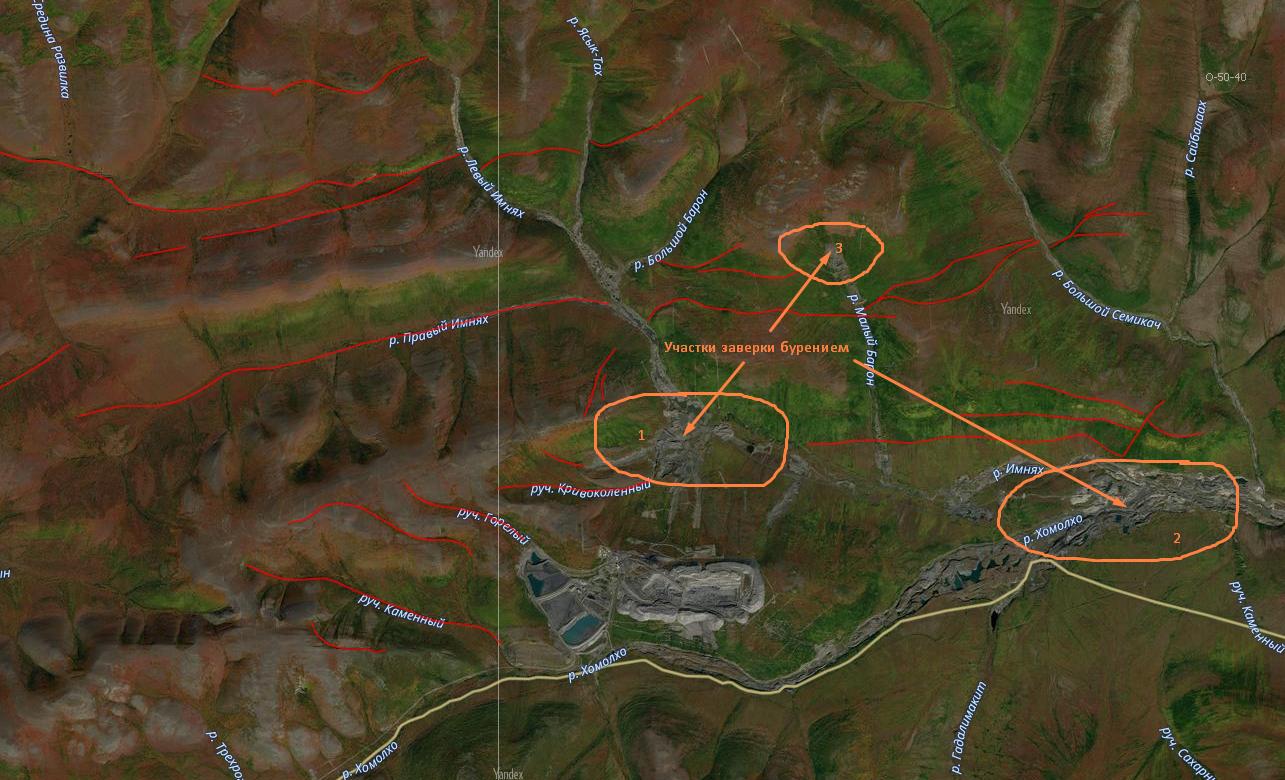 Поисковые цели в районе месторождения золота Голец Высочайший