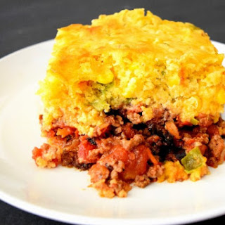Southwest Taco Beef Bake with Cornbread Crust