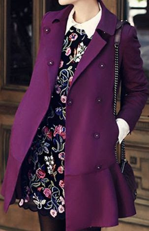 Romantic outfit with purple coat and floral dress for Clear Winter women