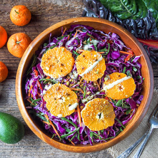 Mandarin Rainbow Salad with Avocado Tahini Dressing